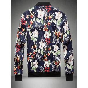 Floral Print Zip Up PU Leather Jacket -