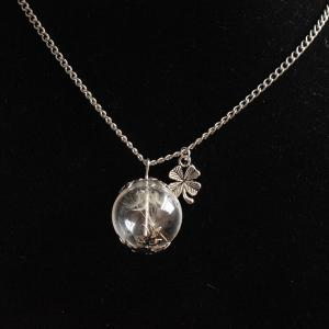 Glass Ball Dandelion Clover Necklace - SILVER