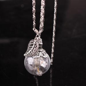 Filigree Leaf Glass Ball Dandelion Necklace - SILVER