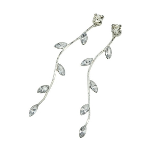Rhinestone Faux Crystal Tree Leaf Earrings -