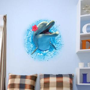 3D Stereo Dolphin Leaping Out The Sea Decorative Wall Stickers For Kids Rooms -