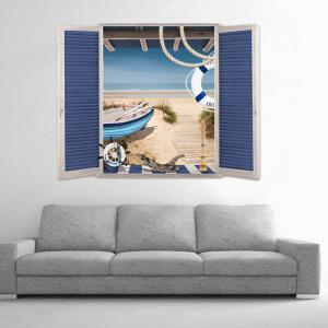 Removable 3D Stereo Seaside Window Design Wall Stickers -