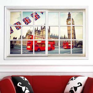 Removable 3D Stereo Britain Streetscape Window Design Wall Stickers - WHITE