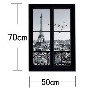 Removable 3D Stereo Eiffel Tower Upstair Window Design Wall Stickers - BLACK