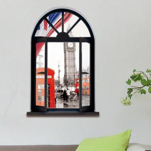 Removable 3D Stereo London Streetscape Window Design Wall Stickers -