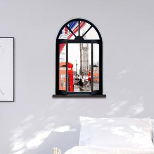 Removable 3D Stereo London Streetscape Window Design Wall Stickers - BLACK