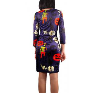 Halloween Pumpkin and Zombie Print Dress - DEEP PURPLE XL