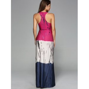 Stripes Ombre Casual Fitted Maxi Tank Dress - COLORMIX XL