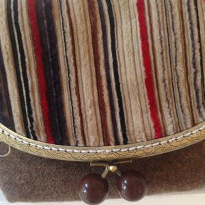 Woolen Cloth Striped Crossbody Bag -