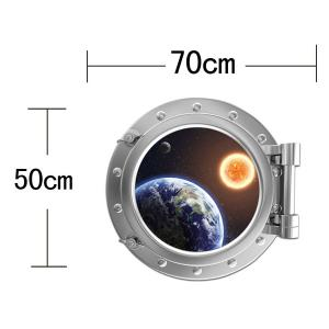 Removable 3D Space Capsule Planet Design Wall Stickers - SILVER