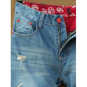 Pocket Rivet Patched Scratched Ripped Cuffed Jeans -