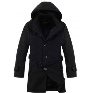 Button-tab Cuffs Hooded Belted Coat -