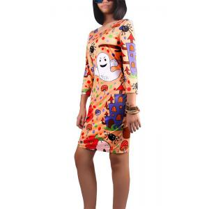 Halloween Pumpkin and Ghost Print Dress -