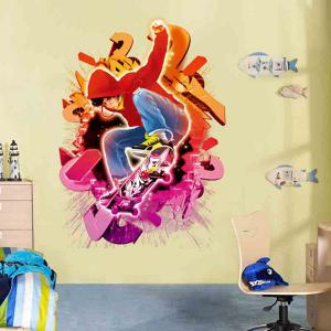 Removable 3D Skater Boy Design Wall Stickers - RED