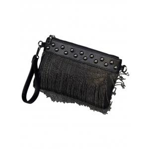PU Leather Chains Fringe Clutch Bag -