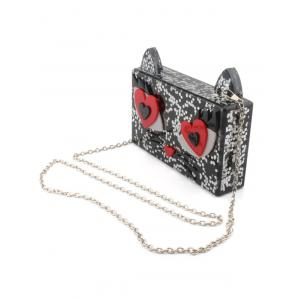 Acrylic Owl Pattern Color Block Evening Bag -