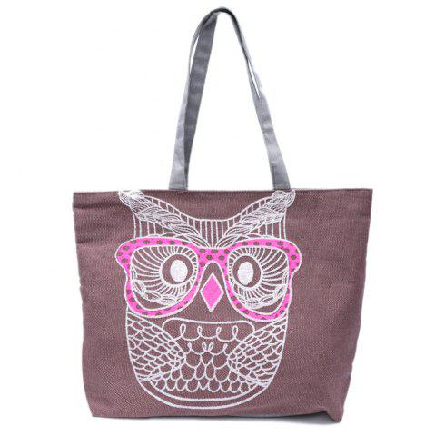 Casual Owl Pattern and Canvas Design Women's Shoulder Bag - Purple
