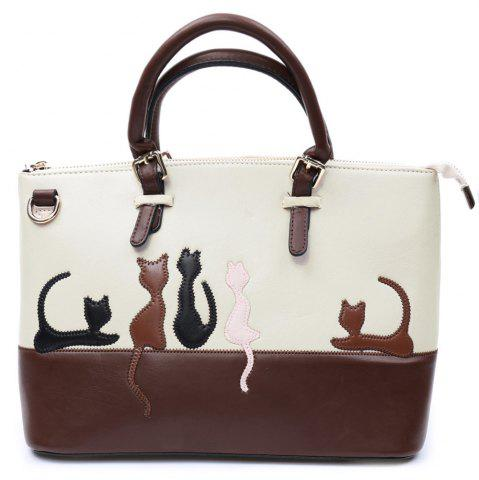 Discount Ladylike Animal Pattern and Color Block Design Women's Tote Bag