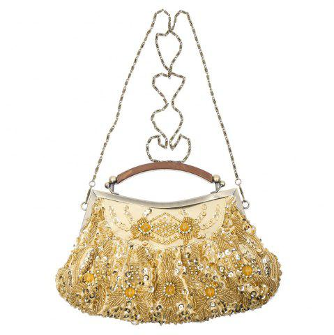 Cheap Party Elegant Beaded and Sequins Design Women's Evening Bag GOLD