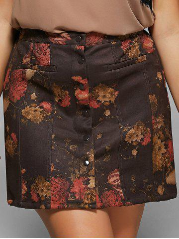 New Button Design Floral Print Slimming Skirt