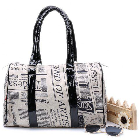 Best Casual Zipper Design and Newspaper Printing Handbag/Slanting Bag For Female