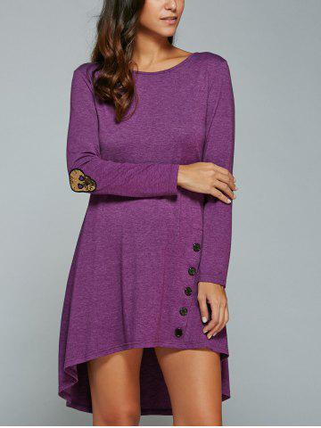 Affordable High-Low Knee Length Long Sleeves Dress PURPLE XL
