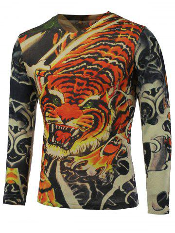 Fancy 3D Tiger Printed V-Neck Long Sleeve Sweater COLORMIX 3XL