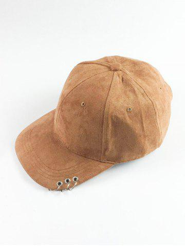 Unique Metal Circle Hoop Embellished Faux Suede Baseball Hat