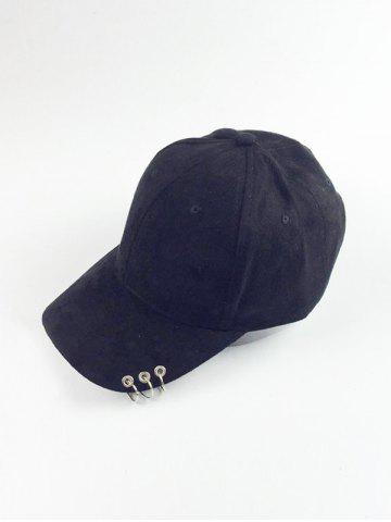 Outfits Metal Circle Hoop Embellished Faux Suede Baseball Hat - BLACK  Mobile