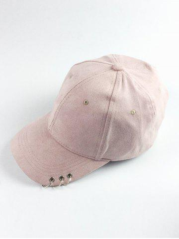 Buy Metal Circle Hoop Embellished Faux Suede Baseball Hat - SHALLOW PINK  Mobile