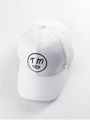 Affordable Round and Letter Embroidery Baseball Hat - WHITE  Mobile