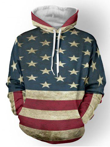 Store Distressed American Flag Pullover Spliced Hoodie - L DEEP BLUE Mobile