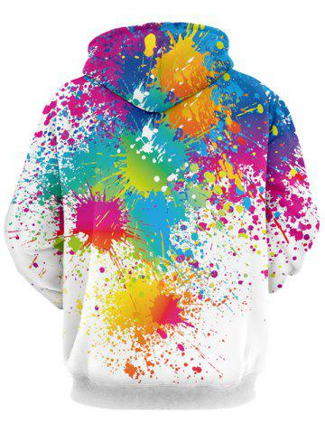 Discount Paint Splatter Print Long Sleeve Pullover Hoodie - 2XL WHITE Mobile