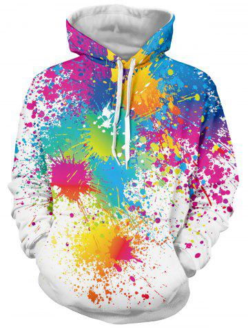 Fashion Paint Splatter Print Long Sleeve Pullover Hoodie - 2XL WHITE Mobile