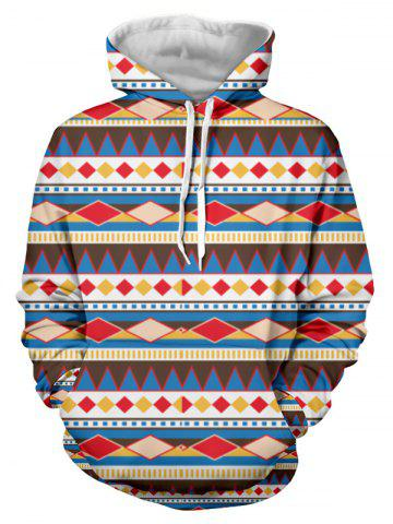 Trendy Kangaroo Pocket Long Sleeve Geometric Print Hoodie COLORMIX 3XL