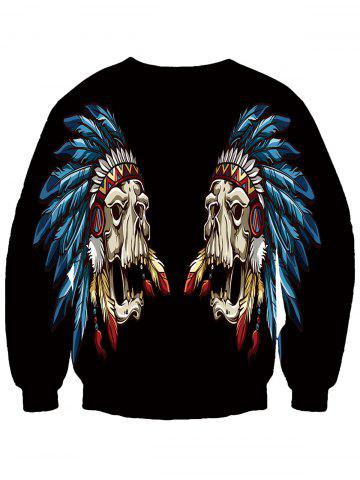 Hot Round Neck Feather Mask 3D Print Sweatshirt - 2XL BLACK Mobile