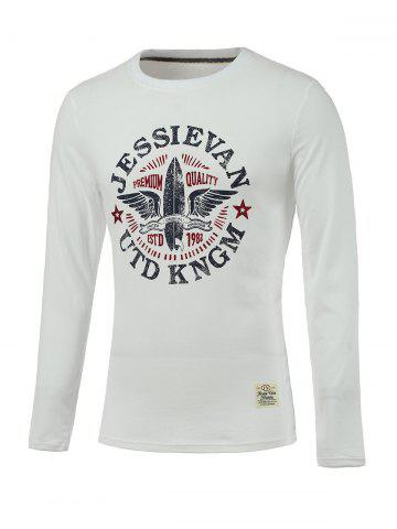 Chic Letter and Wings Print Long Sleeve Round Neck T-Shirt WHITE XL