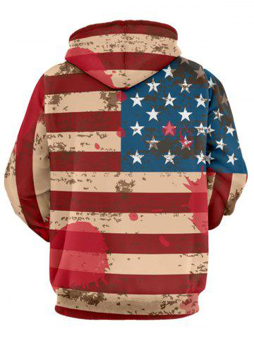 Online Distressed American Flag Drawstring Pullover Hoodie - 3XL RED Mobile