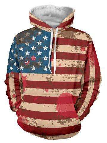 Online Distressed American Flag Drawstring Pullover Hoodie - 2XL RED Mobile