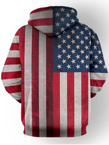 Chic Pullover Distressed American Flag Hoodie - XL RED Mobile