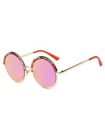 Retro Eyebrow Aquatic Plant Frame Mirrored Round Sunglasses - PEACH PINK