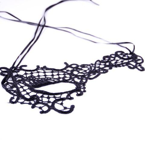 Store Hollow Out Faux Lace Party Mask - BLACK  Mobile