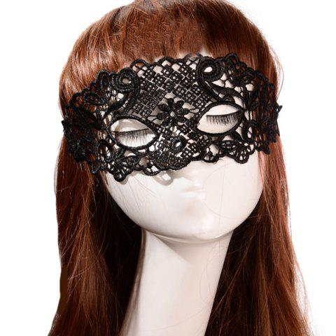 Discount Faux Lace Floral Geometric Party Mask BLACK