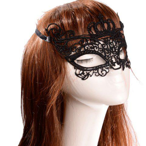 New Faux Lace Crown Rose Party Mask - BLACK  Mobile