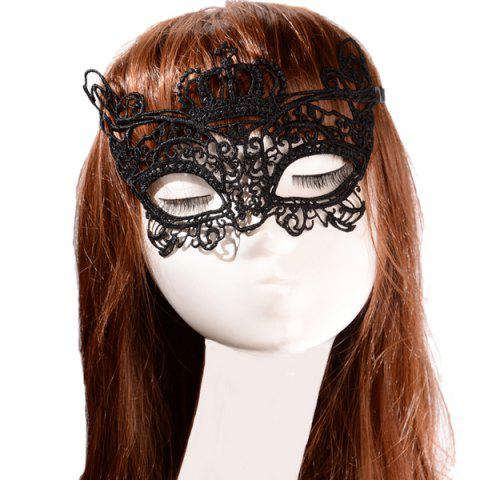 Outfits Faux Lace Crown Rose Party Mask BLACK