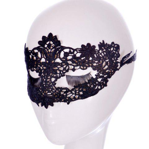New Faux Lace Flower Hollow Out Party Mask - BLACK  Mobile