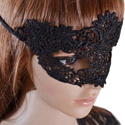 Chic Faux Lace Flower Hollow Out Party Mask - BLACK  Mobile