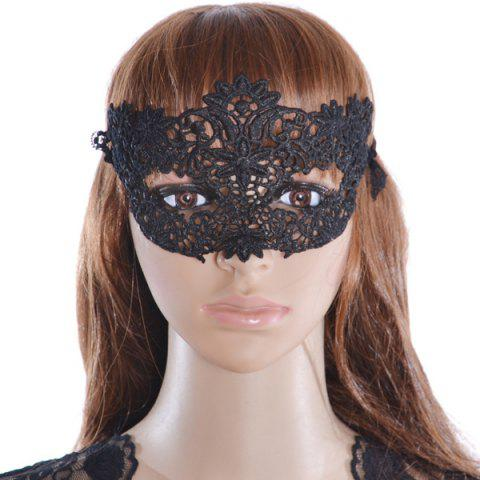 Unique Faux Lace Flower Hollow Out Party Mask BLACK