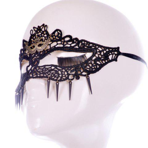 Outfit Faux Lace Crown Hair Accessory Party Mask - BLACK  Mobile