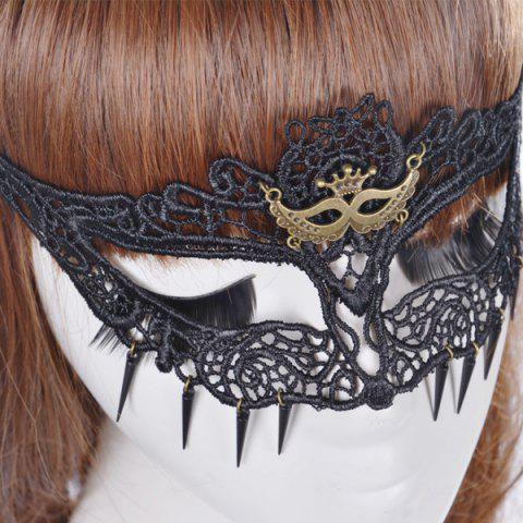 Affordable Faux Lace Crown Hair Accessory Party Mask - BLACK  Mobile